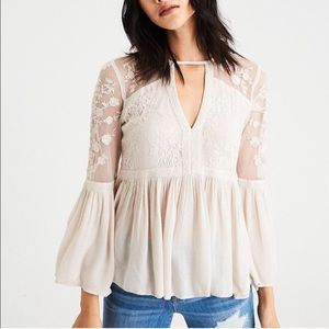 XS cutout front lace bell sleeve blouse
